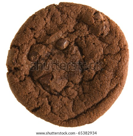 double chocolate chip  cookie isolated on white background; - stock photo