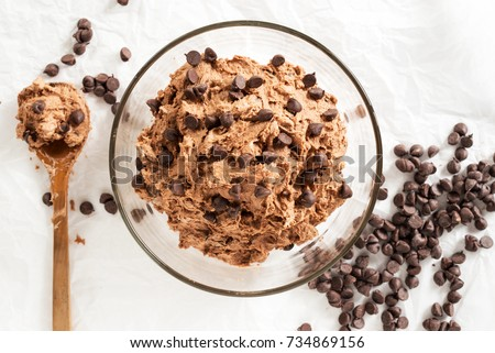 double chocolate chips cookies dough prepare for bake Stock photo ©