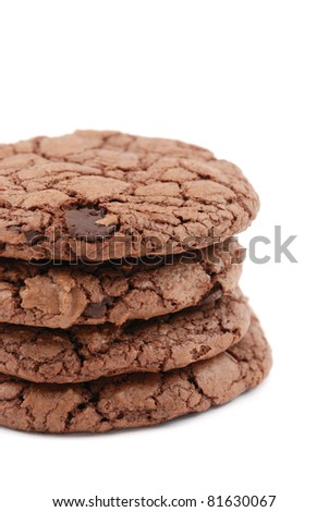 Double chocolate cookies isolated on a white background