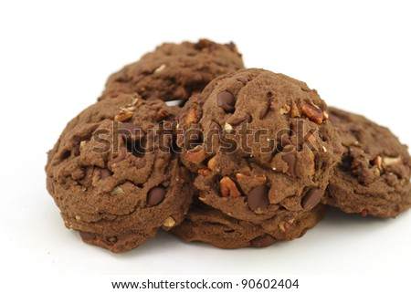 Double chocolate walnut cookies
