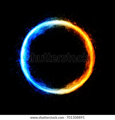 Double-coloured (cold and warm) circle with sparkles and free space in center isolated on black background