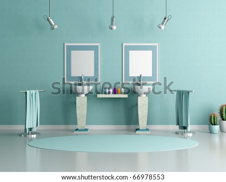 double column sink in a modern bathroom - rendering