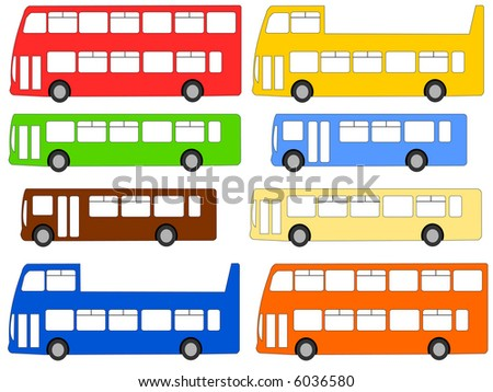 double deck, single deck, and open top buses illustration JPG
