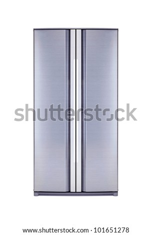 double door freezer isolated on white - stock photo