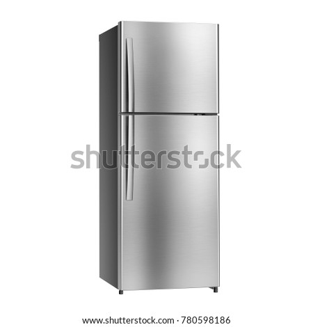 Double Door Refrigerator Isolated on White Background. Side View of Stainless Steel Fridge Freezer. Electric Appliances. Domestic Appliances. Kitchen Appliances #780598186