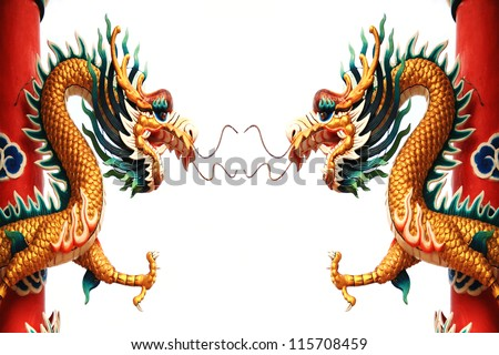 Double Dragon statue Chinese style