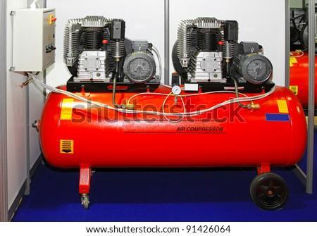 Double engine air compressor in service garage