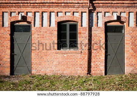 double entrance in old factory in Lodz, Poland