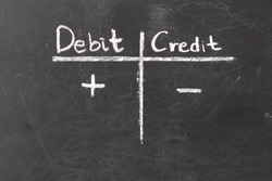 Double-entry bookkeeping, debit and credit on chalkboard