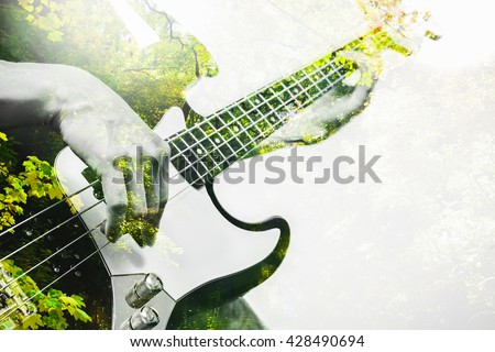 double explosure photo of musician playing bass guitar and green forest for ecology concept