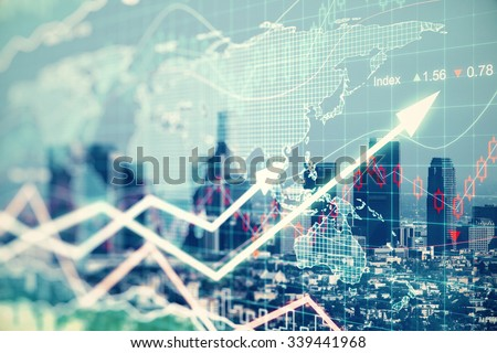 Double explosure with businesss charts and financial district of megapolis city