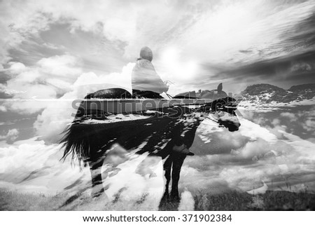 double exposure abstract background with cowboy riding horse  #371902384