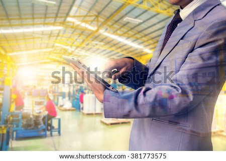Double exposure authorities Quality Inspector wearing magnifying glasses inspecting a small manufactured part  and factory