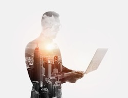Double exposure bearded businessman wearing black shirt and glasses.Banker holding contemporary notebook hands.Work online banking.Isolated white,modern city sunset background.Horizontal mockup