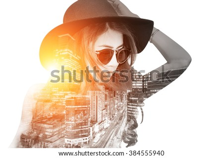 Double exposure,Beautiful girl and cityscape. Retro tone.