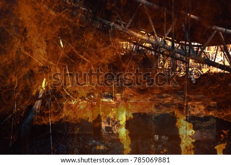 Double exposure Burned interiors of office decoration after fire in the factory / Damage in Factory After Fire Inferno #785069881