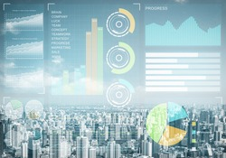 Double exposure business concept with abstract stock market data on background of modern cityscape. Virtual interface of online trading platform. Digital economic indexes, analytics and statistics.