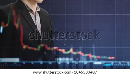 Double exposure businessman and slightly decreasing graph background. Economic bubble, economy fail and lost profit  concept