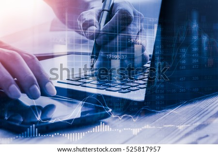 Double exposure businessman and stock market graph for business concept about accounting and finance.
