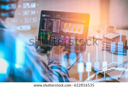 Double exposure businessman and stock market or forex graph suitable for financial investment concept. Economy trends background for business idea and all art work design.