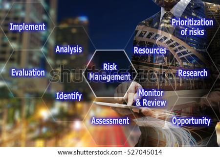 Double exposure businessman hand using digital tablet with virtual panel of icon polygon interface of risk management, business concept