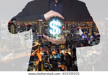 Double exposure - Businessman show DOLLAR currency symbol between hands