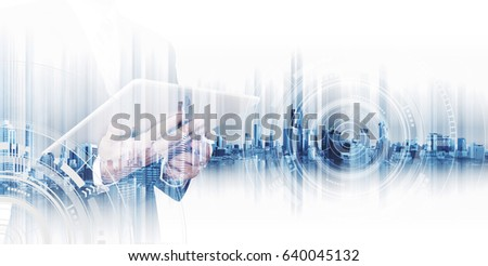 Double exposure businessman working on digital tablet, concepts of business technology network #640045132