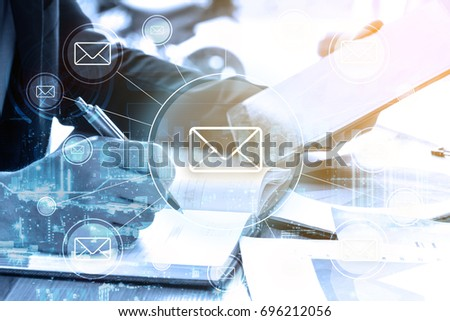 double exposure businessman writes business plan and email networking concept #696212056