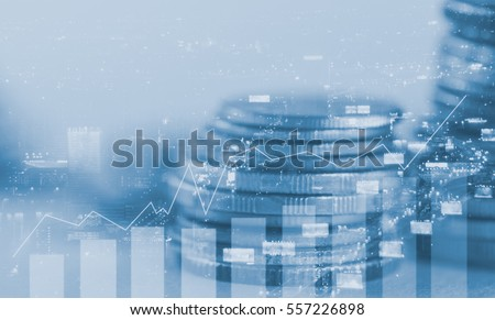 Double exposure coins with night city and column graph, Finance and banking concept