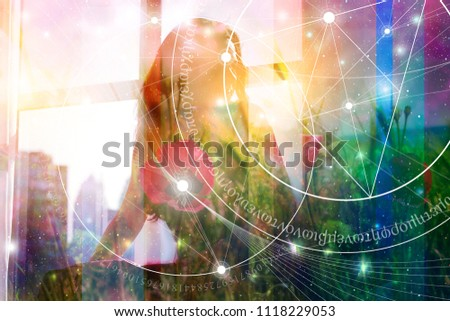 Double exposure collage with sacred geometry style line art illustration with triangles and golden ratio digits , young woman in meditation and overlaying images of nature, flowers and outer space.
