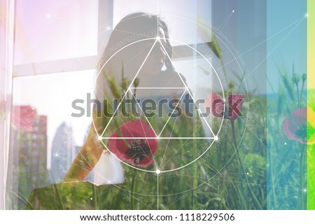 Double exposure collage with sacred geometry style line art illustration with triangles and golden ratio digits , young beautiful woman in meditation and overlaying images of nature and flowers.