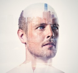 Double exposure concept with handsome man. Isolated. Vertical