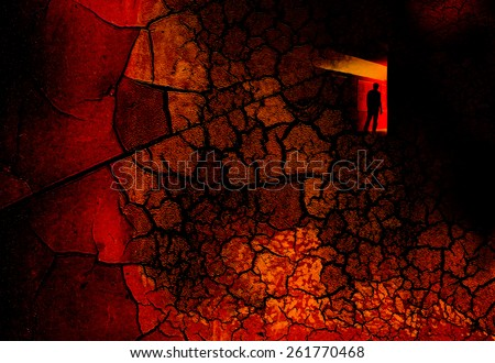 Double exposure cracks with man,Success concept