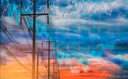 Double exposure-electric pole, and colorful sky stock chart as background. With the concept of volatility of stocks and energy businesses in the global market.