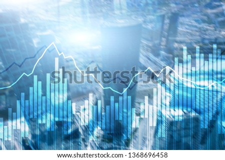 Double exposure Financial graphs and diagrams. Business, economics and investment concept. #1368696458