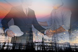 Double exposure graphic of business people handshake over  thermal electic power station, factory. Deal in the industry