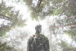 double exposure hiker walking in a mystic forest