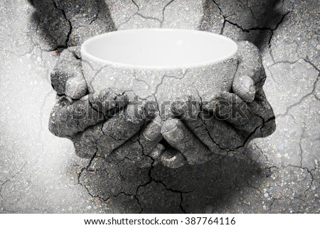 Double exposure hunger begging hands and dry soil. Represent that lot of people in the world are hungry and starvation, they need help and hope for better life Stock photo ©