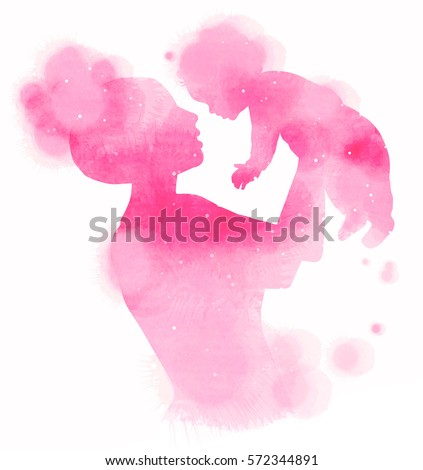 Double exposure illustration. Side view of Happy mother holding adorable child baby girl silhouette plus abstract water color painted. Digital art painting.