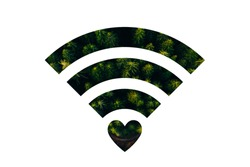 Double exposure image of Earth and WiFi signal sign.