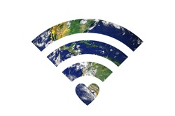 Double exposure image of Earth and WiFi signal sign. Elements of this image are furnished by NASA.