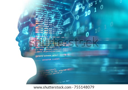 double exposure image of virtual human 3dillustration on programming and learning technology  background represent learning process.