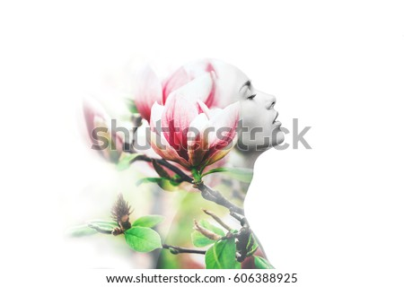 Double exposure made with young nude beautiful woman with healthy skin and spring magnolia flowers, isolated.