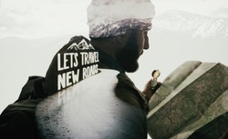 Double exposure mountain landscape with bearded travele, road and lettering. Metaphor of travel.