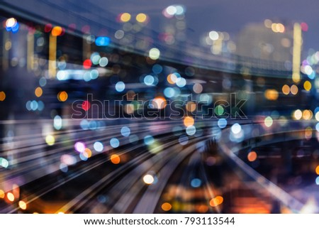 Double exposure moving train track night blurred light city downtown, abstract background #793113544