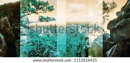Double exposure natural landscape in distorted color. Vintage blurred analog photography with grain, dust and noise. Film photo in style lomography. Photo stock ©