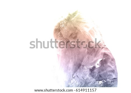 Stock Photo Double exposure of a young beautiful girl. Painted portrait of a female face. Multi-colored picture isolated on white background. Female sad look. Abstract woman face. Watercolor illustration.
