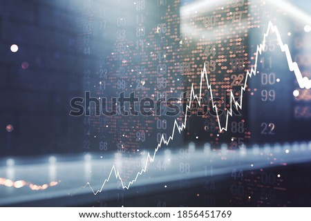 Double exposure of abstract creative financial chart hologram and world map on modern business center exterior background, research and strategy concept