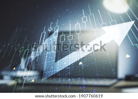Double exposure of abstract creative financial diagram with upward arrow on computer background, growth and development concept Foto stock ©