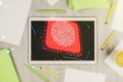 Double exposure of abstract creative fingerprint hologram and digital tablet on background, top view, research and development concept